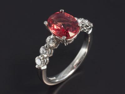 Platinum Claw Set Oval Cut Orange Sapphire 2.55ct, Round Brilliant Cut Diamonds, 0.62ct (6)