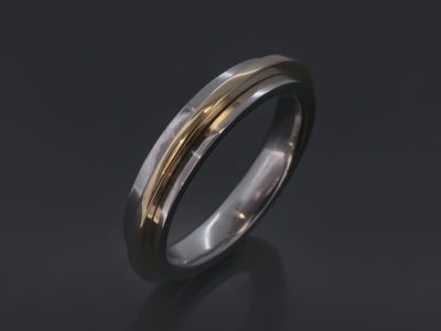 Platinum & 18kt 4.5mm Yellow Gold Two Tone Design. Yellow Gold Moving Section.