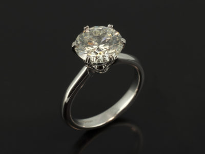 Platinum 6 Claw Solitaire with Round Brilliant Cut 3.14ct L Colour SI1 Clarity EXEXEX
