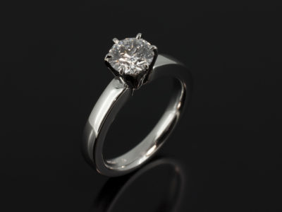 Platinum 6 Claw Solitaire with lab grown Round 0.95ct G Colour SI1 Clarity EXEXEX