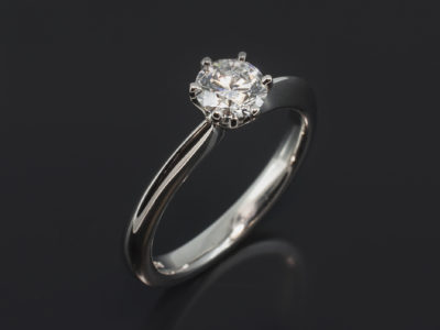 Platinum 6 Claw Tulip Design. Round Brilliant Cut Diamond, 0.59ct. E Colour, VS2 Clarity.