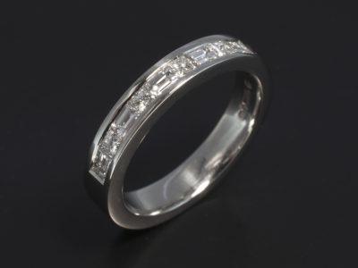 Platinum Channel Set Baguette and Princess Cut Diamond Design 1.15ct Total F Colour VS Clarity