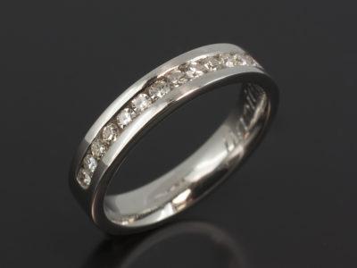 Platinum Channel Set Wedding Ring. Round Brilliant Cut Diamonds 0.30ct (16)