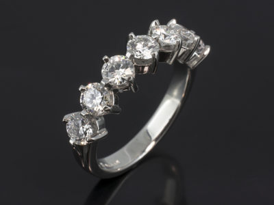 Platinum Claw Set 7 Stone Design. Round Brilliant Cut Diamonds, 1.52ct (7). F Colour, SI Clarity
