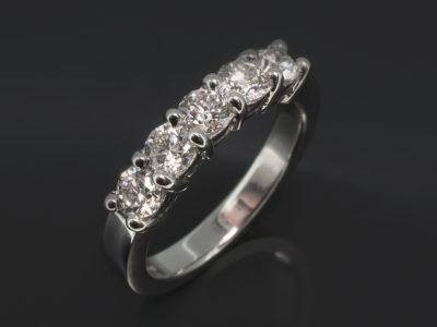 Platinum Claw Set Design 1.00ct (5) Round Brilliant Cut Diamonds