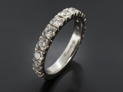 Platinum Claw Set Design Round Brilliant Cut Diamond, 1.10ct (13) F Colour, VS Clarity