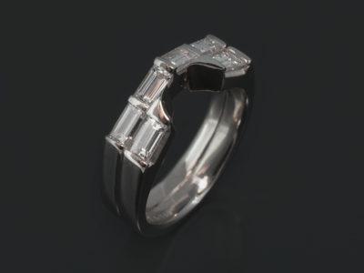Platinum Claw Set Fitted Design. Baguette Cut Diamonds, 0.80ct (6).