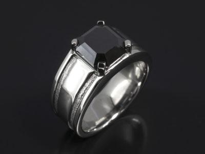 Platinum Claw Set, Grooved Detail Design. Asscher Cut Black Diamonds, 3.30ct