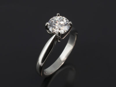 Platinum Claw Set Solitaire Design Round Brilliant Cut Diamond, 1.08ct, D Colour, SI1 Clarity.