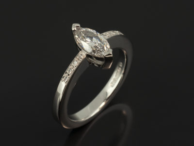 Platinum Claw and Pavé Set Engagement Ring with Marquise Cut 0.70ct D Colour SI1 Clarity