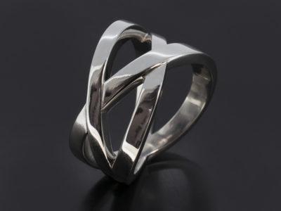 Platinum Crosssover Design Thumb Ring