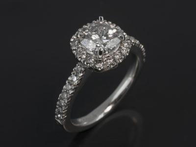 Platinum Cushion Cut Diamond, 1.07ct FSI2, Castle Set Round Brilliant Cut Diamond Halo and Shoulders, 0.34ct (30)