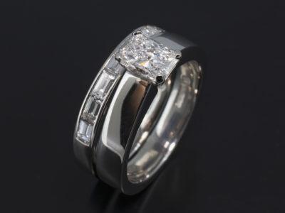 Platinum Four Claw Solitaire Design Radiant Cut Diamond, D Colour, SI1 Clarity, 0.75ct. Excellent Polish, Excellent Symmetry, No Florescence