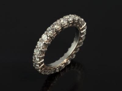 Platinum Full Claw Set Wedding Ring with Round Brilliant Cut Diamonds 1.54ct Total F Colour VS Clarity Minimum