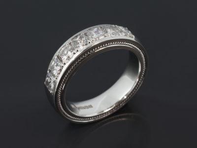 Platinum Rope Detail Claw Set Design. Cushion Cut Diamonds, 1.27ct (7). F Colour, VS Clarity Minimum