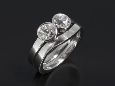 Platinum Rubover Set Two Stone Design, 0.51ct 0.63ct with matching wedder