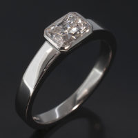 Platinum Rubover Solitaire Radiant Cut Diamond, 0.81ct D SI1 EX VG