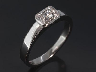 Platinum Rub over Solitaire Engagement Ring Radiant Cut Diamond, 0.81ct D SI1 EX VG