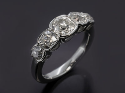 Platinum Tension Set Design. Customers Old Mine Cut Diamond, 1.15ct Customers Old Mine Cut Diamond, 0.62ct Customers Old Mine Cut Diamond, 0.58ct Customers Old Mine Cut Diamond, 0.60ct (2)