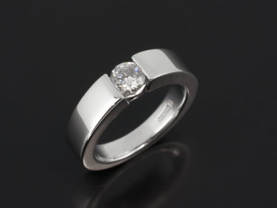 Platinum Tension Set with Round Brilliant 0.53ct H Colour I Clarity