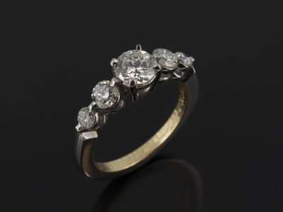 Platinum and Yellow Gold Claw Set 5 Stone Design with Round Brilliant Cut 0.58, 2 x 0.20 and 2 x 0.08ct