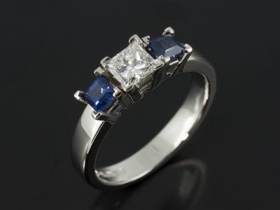 Princess Cut 0.41ct Diamond D Colour VVS2 with 0.48ct Total Princess Cut Sapphires Platinum Design