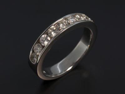 18kt White Gold Channel Set Wedding Ring with Round Brilliant Cut Diamonds 1.33ct Total I-J Colour SI Clarity