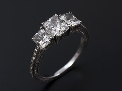 Radiant Cut Diamond Trilogy Design