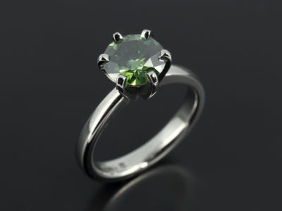 Round Cut 1.42ct Green Diamond, 6 Claw Set Palladium Design