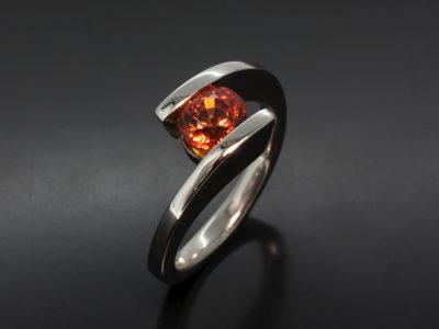 Round Brilliant Cut 1.42ct Orange Sapphire Twist Platinum