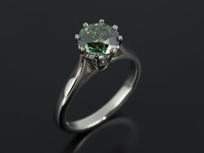 Round Cut Green Diamond 1.51ct Platinum 8 Claw Design