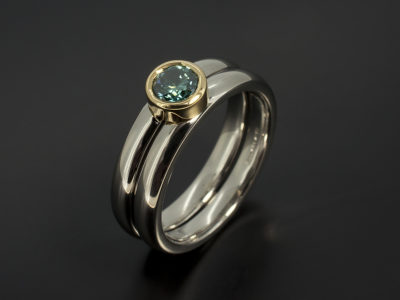 Round Brilliant Cut 0.40ct Blue Diamond Palladium and 18kt Yellow Gold Fitted Wedding Ring