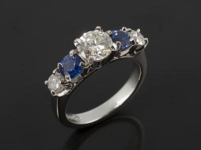 Round Brilliant Cut Diamonds 0.73ct, 0.16ct, 0.15ct and 0.84ct Total Sapphires Platinum 5 Stone Design