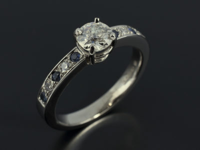 Round Brilliant Cut 0.80ct 4 Claw with Pavè Sapphires and Diamonds