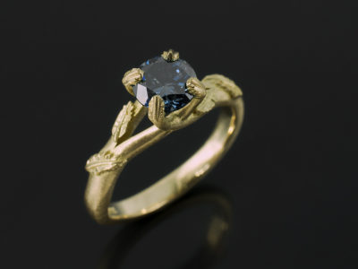 Round Brilliant Cut Blue Diamond 0.71ct 18kt Yellow Gold Leaf Design