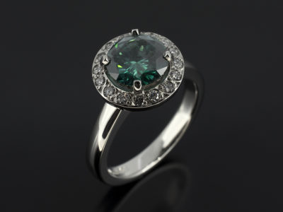 Round Cut Green Diamond 1.52ct in Platinum Diamond Halo Design