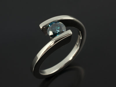 Round Brilliant Cut Blue Diamond 0.56ct in Palladium Tension Twist