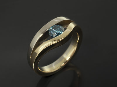 Round Brilliant Cut Blue Diamond 0.62ct 18kt Yellow Gold and White Gold Tension