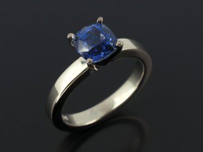 Sapphire Cushion 1.28ct in 18kt White Gold 4 Claw