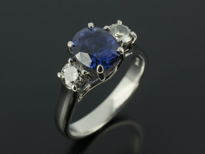 Sapphire Oval 2.29ct with Round Brilliant Cut Trilogy in Platinum