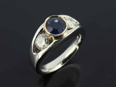 Sapphire and Diamond Tension 18kt Yellow Gold and Palladium