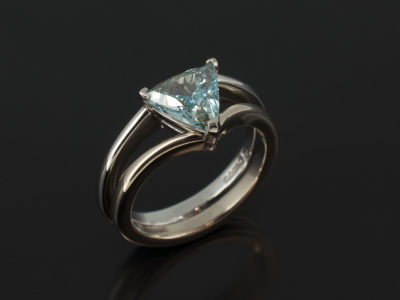 Trilliant Cut Blue Diamond 1.00ct in a Platinum and 18kt White Gold Claw Set Split Band Design