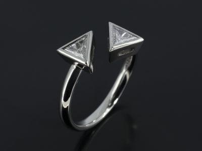 Trilliant Cut Diamond Twist two stone design