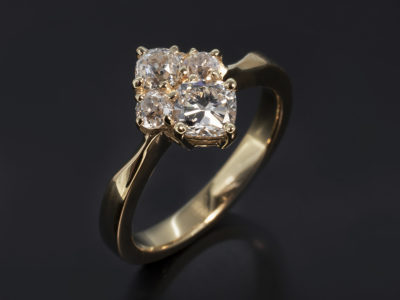 18kt Yellow Gold Claw Set Cluster Design with Cushion Cut and Old Miner Cut Diamonds