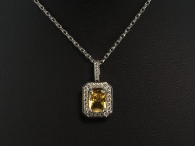 18kt White Gold Diamond Pavé and Claw Set Pendant with Radiant Cut Yellow Sapphire 1.58ct