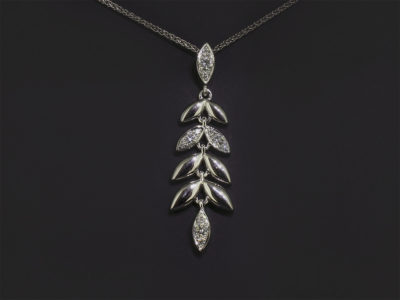 18kt White Gold Pavé Set Diamond Leaf Design Necklace, Round Brilliant Cut Diamond, 0.16ct (12) Spiga Chain