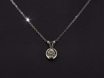 Round Brilliant Cut Diamond 0.33ct, H Colour SI Clarity, Claw Set Split Bale Pendant in 18kt White Gold