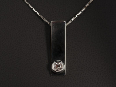 18kt White Gold Rub Over Set Pendant 0.30ct Old Miners Cut Diamond on Box Chain