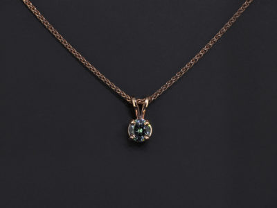 9kt Red Gold Claw Set Design. Round Brilliant Cut Blue Diamond, 0.37ct, Spiga Chain