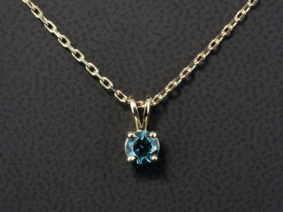 9kt Yellow Gold Four Claw Set Pendant with Round Brilliant Cut Blue Treated Diamond, 0.43ct